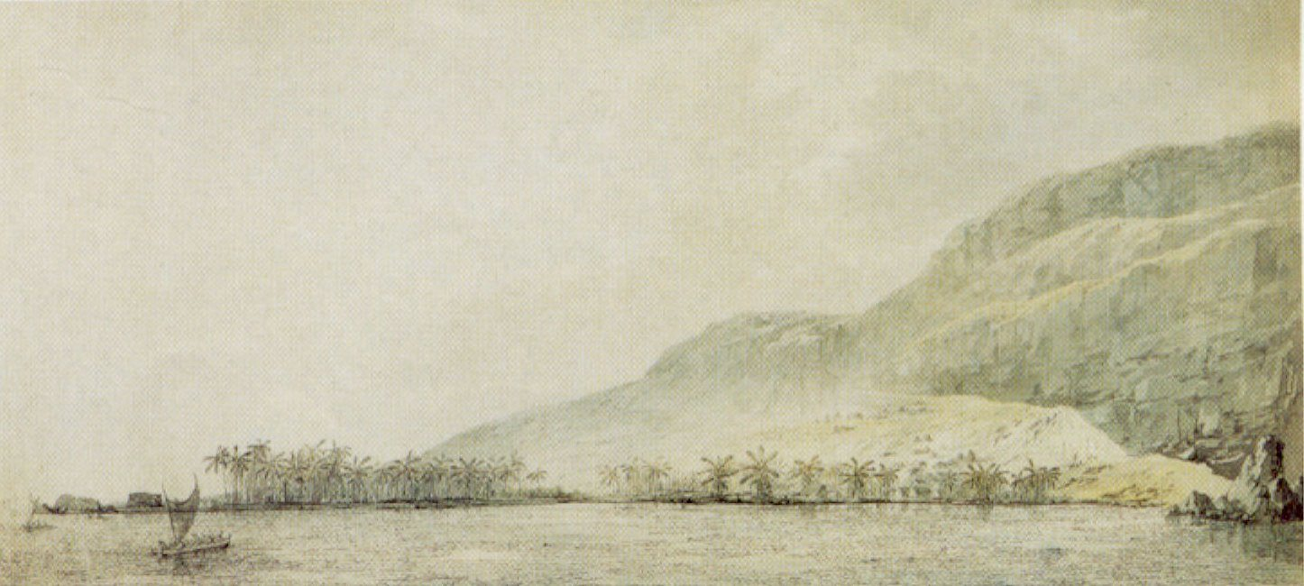 Kealakekua Bay and the Village Kowroaa, 1779 ink wash and watercolor by John Webber [Public domain  via Wikimedia Commons]